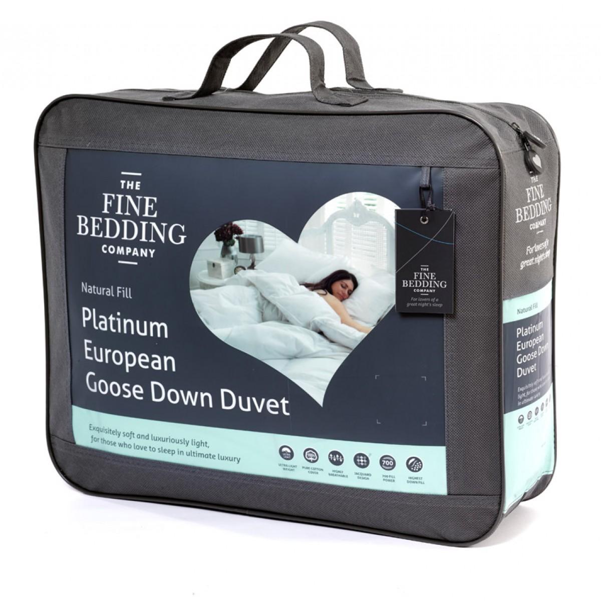 Platinum European Goose Down Duvet By Fine Bedding Company